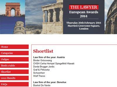 Названы российские юрфирмы, претендующие на премию The Lawyer European Awards 2014