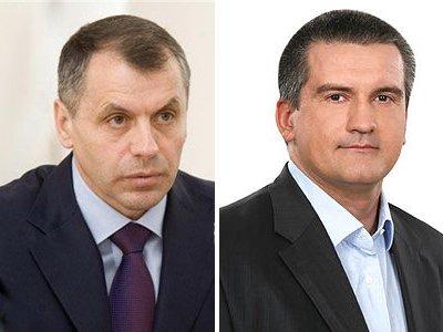 Спикер Верховного Совета Автономной Республики Крым Владимир Константинов и премьер-министра Крыма Сергей Аксенов