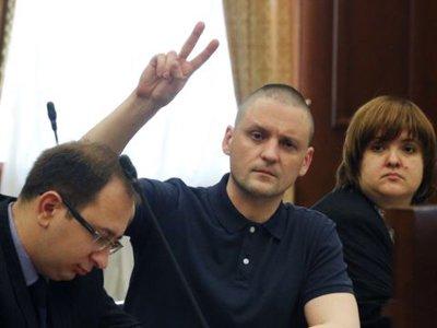 Сергей Удальцов и его адвокат Виолетта Волкова